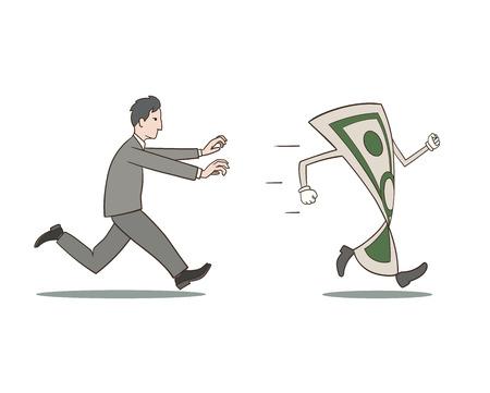 これはお金を追いかけてビジネスマンのイラスト