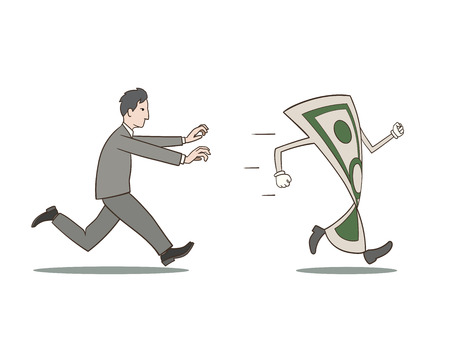 This is an illustration of a businessman chasing money Stock Illustratie