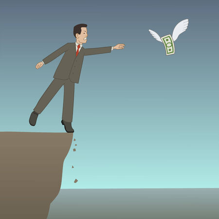 precipice: This is an illustration of businessman between precipice and profit Illustration