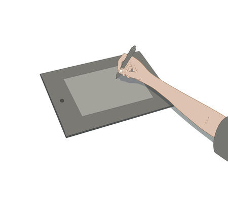 wacom: This is an illustration of drawing with tablet Illustration