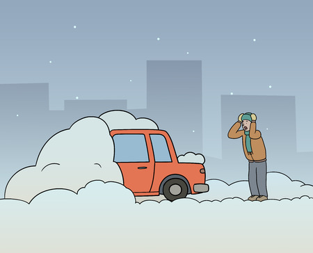 Dit is een illustratie van een wagen uit sneeuw