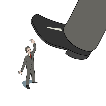 This is an illustration of big foot stepping on worker Stock Illustratie