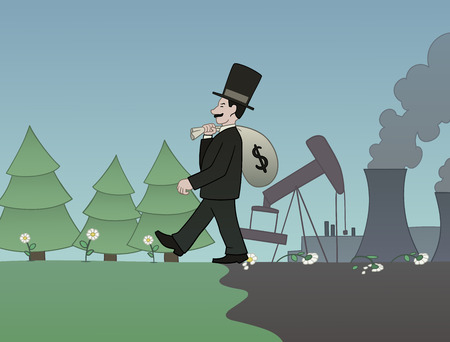 capitalist: This is an illustration of money versus nature Illustration