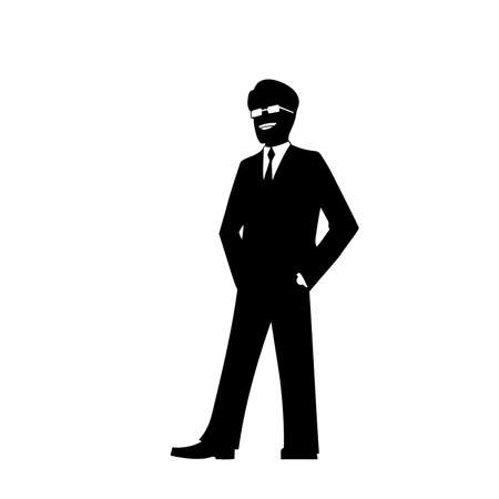 supercilious: This is the illustration of smiling businessman silhouette