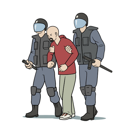 nightstick: This is the illustration of protester arrest Illustration