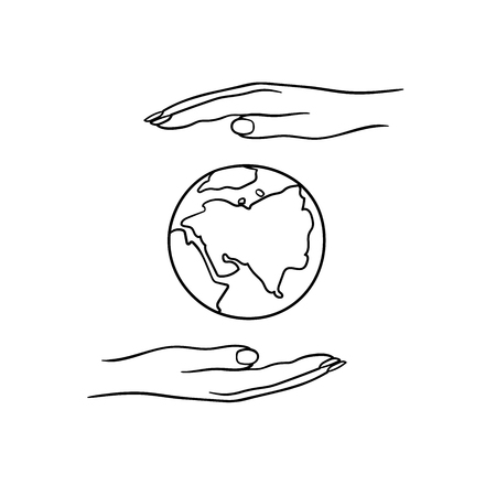 A pair of hands holding planet Earth Vector