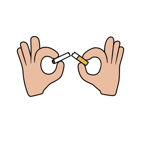 ciggy: This is the illustration of hands breaking the cigarette