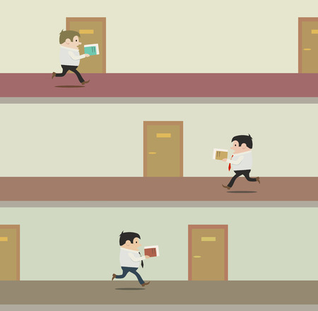 This is the illustration with clerks running through corridors Vector
