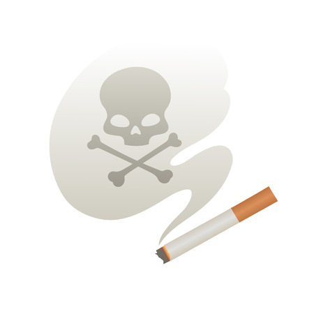 toxic product: This is a sigarette with smoke and skull Illustration