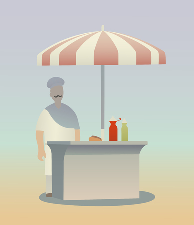 This is the illustration of hot dog seller Vector