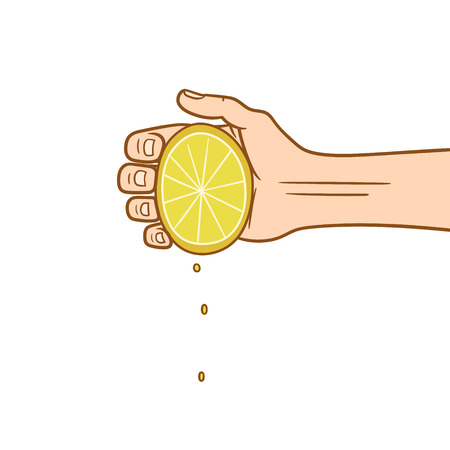 This is a hand squeezing a lemon