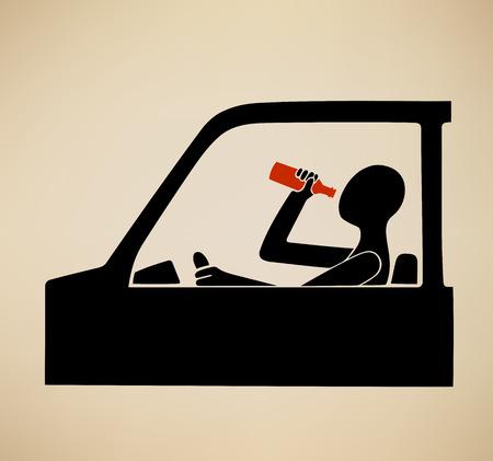 alcoholismo: Esta es una ilustración acerca de conducir ebrio