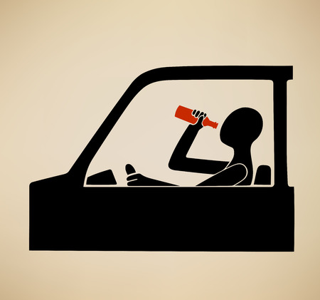 This is an illustration about drunk driving Иллюстрация