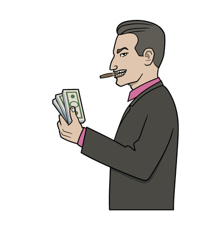 covetous: This is an illustration of businessman with pack of money
