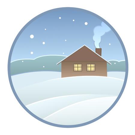 holiday villa: winter landscape Illustration