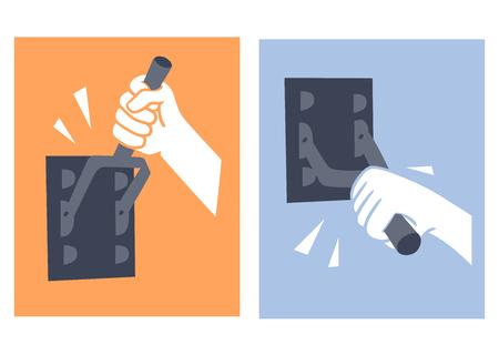 standardiste: Ceci est une illustration de la commutation de contact de la main-disjoncteur Illustration