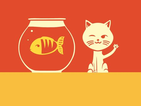 dishonesty: This is a cat hunting for fish Illustration
