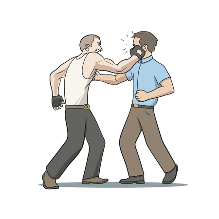 character traits: This is an illustration of fighting men