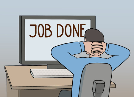 This is a vector illustration of relaxing worker Illustration