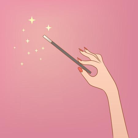 これは魔法の杖を持っている手の illusrtation  イラスト・ベクター素材