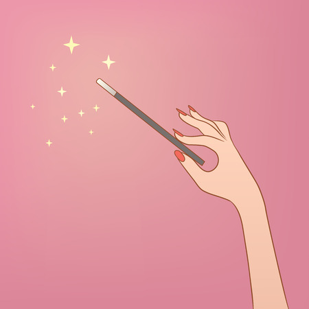 This is an illusrtation of a hand holding a magic wand Stock Illustratie