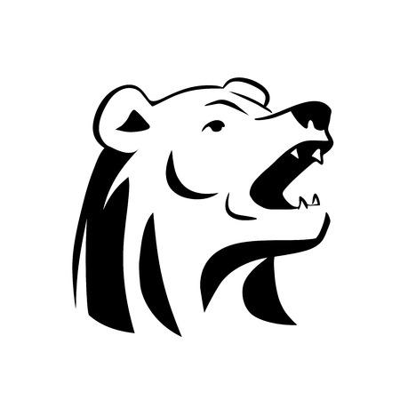 oso blanco: Esta es una ilustración de la cabeza del oso de tatuaje Vectores