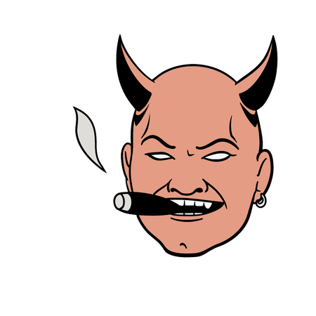 slicked back hair: This is a devil head with sigar Illustration