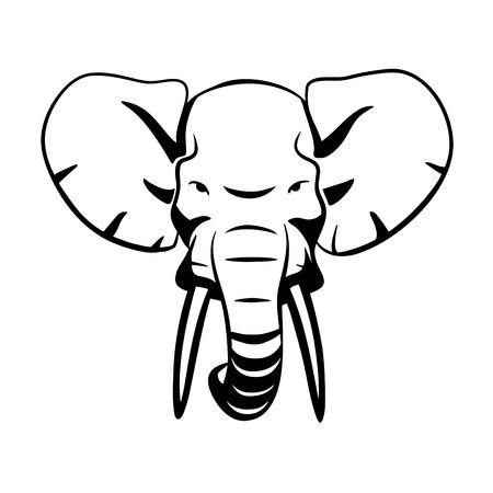 elefantes: Esta es una ilustración de cabeza de elefante Vectores