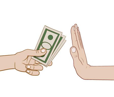refusing: This is an illustration of refusing money Illustration