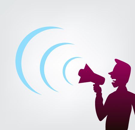 this is an illustration of a man shouting through megaphone