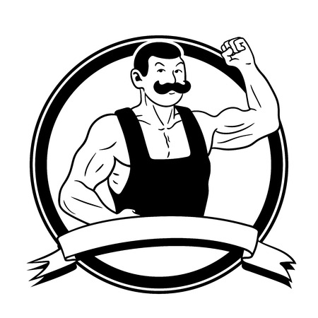 oldstyle: This is the illustration of an oldstyle strongman