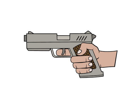 gun sight: This is an illustration of a hand with pistol