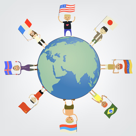 chinese american ethnicity: These are people with country flags around the globe Illustration