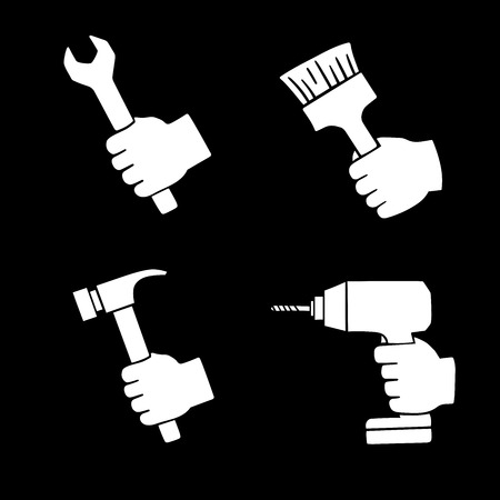 computer repairing: this is a set of worker icons