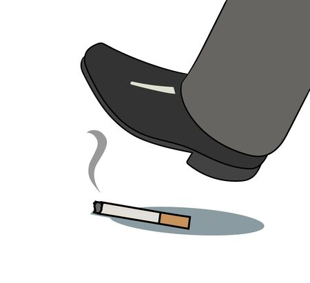 refusing: This is an illustration of foot over cigarette