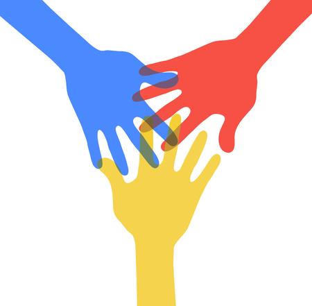 circulo de personas: Este es un elemento gr�fico con tres manos Vectores