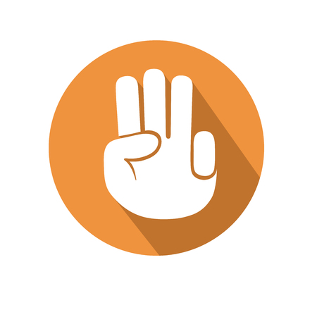 three fingers: this is an illustration of Three fingers gesture