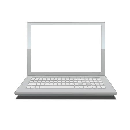 laptop computer: illustration of laptop with blank screen