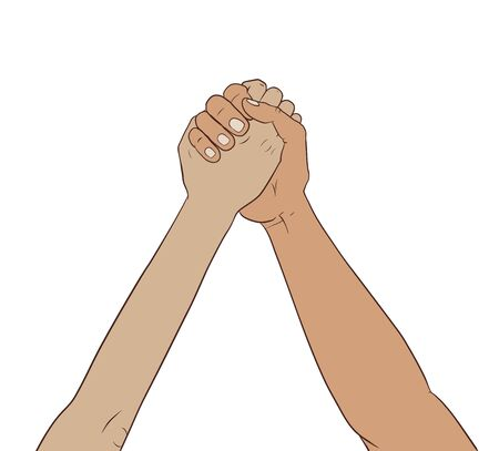 outstretched: This is an illustration of hands together in the air