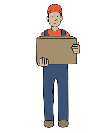 merchandise: This is an illustration of delivery service worker