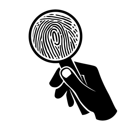 forensics: This is an illustration of fingerprint under loupe