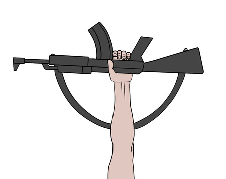 automatic: This is an illustration of a raised automatic gun Illustration