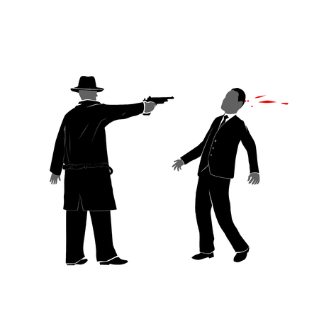 assassination: This is an illustration of killer shooting a man