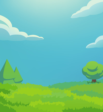 horizon over land: This is an vertical illustration of green hill