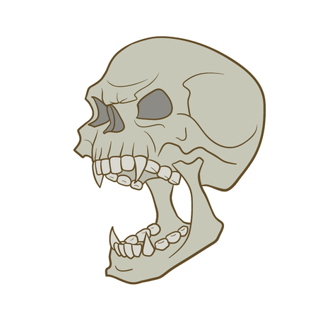 vector skull danger sign: This is an angry skull isolated on white