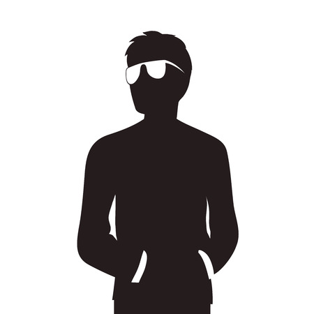 This is an illustration of Man with glasses silhouette