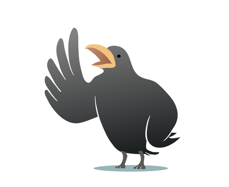 This is the illustration of flying crow