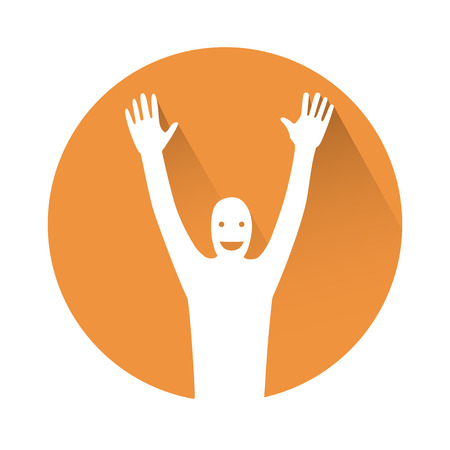outstretched hand: This is a man with hands in the air Illustration