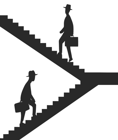 clerks: This is the illustration with clerks climbing the stairs