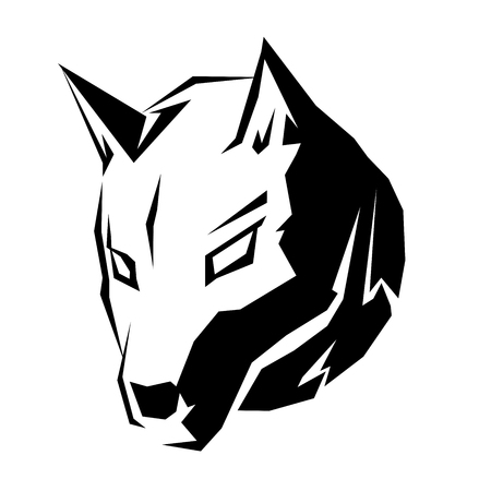 sledge dog: This is a illustration of a dog head symbol